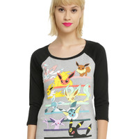 Pokemon Eevee Evolution Characters Girls Raglan