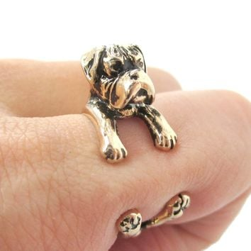 3D Boxer Dog Shaped Animal Wrap Ring in Shiny Gold | Sizes 4 to 8.5
