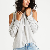 AEO Soft & Sexy Cold Shoulder Hoodie, Heather Gray