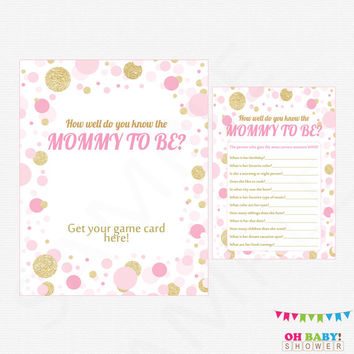 Pink and Gold Baby Shower Games, How well do you know the MOMMY to be, Printable Baby Shower, Confetti, Baby Girl, Download, CB0003-PG