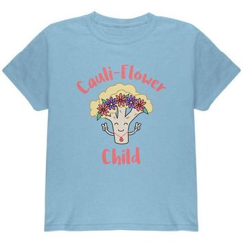 LMFONFT Vegetable Cauliflower Cauli-Flower Flower Child Funny Youth T Shirt