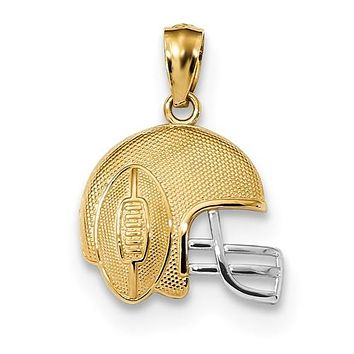 14K Yellow Gold Two Tone Football Helmet Necklace Charm