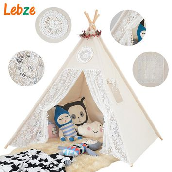 Four Poles Children Teepees Lace Cream For Girls
