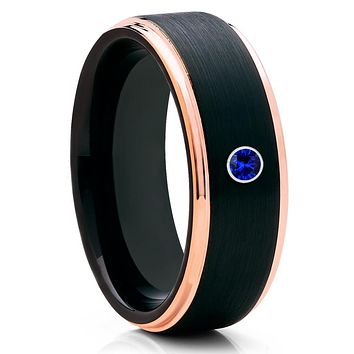 Blue Sapphire Ring - Men's Tungsten Band - Tungsten Wedding Ring - Black