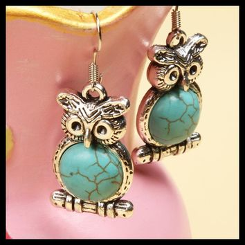 Charming Jewelry Fancy Tibetan Silver Owl Shaped Decoration Earrings