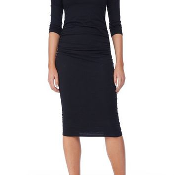 Michael Stars Ruched Midi Dress (Regular & Petite) | Nordstrom