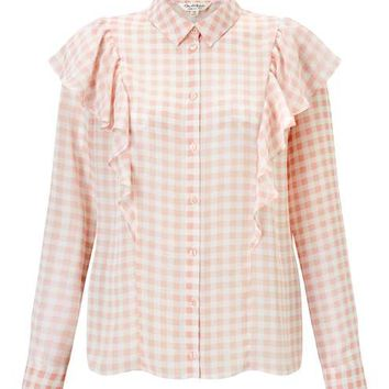 Gingham Ruffle Shirt - Tops - Clothing