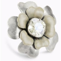 "Liz Palacios ""Silver Blossom"" Crystal And Enamel Flower Ring - designer shoes, handbags, jewelry, watches, and fashion accessories 