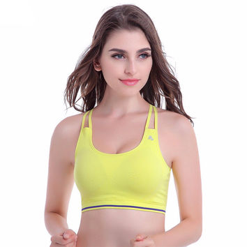 Women Sports Bra Strappy Bra for Gym Running Fitness Seamless Bras Push Up Bra with Padding Tank Tops 5 Colors