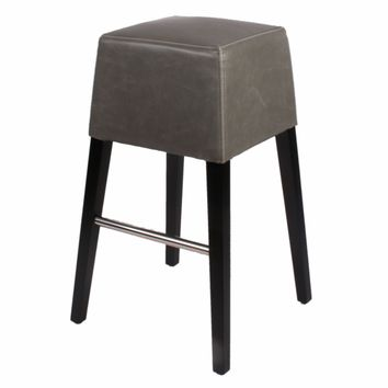 Aubin Bonded Leather Bar Stool Black Legs, Vintage Gray