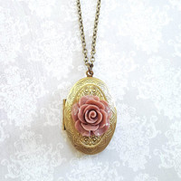Rose Locket Necklace Dusty Pink Wedding Oval Photo Locket Antique Gold Brass Vintage Style Gift For Her, Mother, Girlfriend Bridesmaids Gift