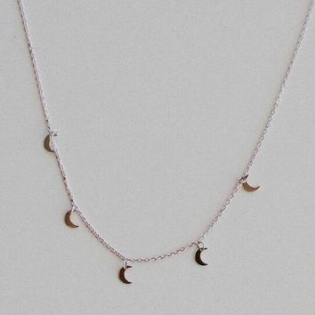 To The Moon Charm Necklace - Silver