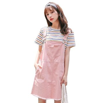 Best Selling 2018 Summer women New Korean solid color Big pocket small fresh candy-colored hole denim strap kawaii dress