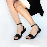 NAFSIKA , Leather Sandals, Minimal Ankle strap women sandals,  Greek sandals, Black leather sandals