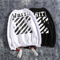 Off-White  2018 autumn and winter new men and women sweater  trend couple models print