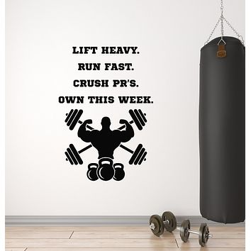 Vinyl Wall Decal Quote Lift Heavy Run Fast Bodybuilding Gym Decor Sport Stickers Mural (g1609)