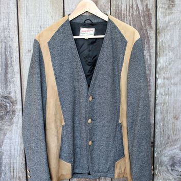 Vintage 1980s 80s Field and Stream Suede/Tweed Shooting Rustic Outdoors Jacket Mens Size 40 (Medium)