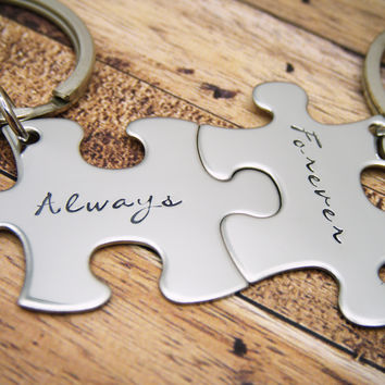 Always Forever Keychains in Cursive Script Font, Couples Keychains , Anniversary Gift