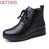 GKTINOO Women's Boots Genuine Leather Wool Warm Winter Boot Ankle Boots For Women Flat Fur Fashion Lace up Black Ladies Shoes