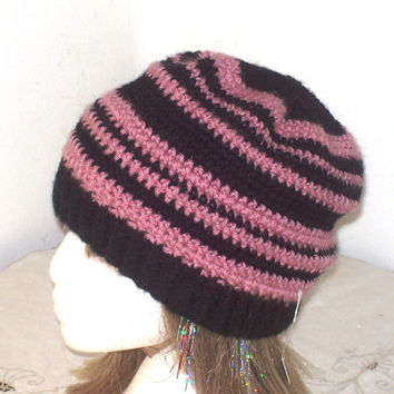 Striped Winter Hat - Crochet, Pink & Black Floppy Cloche Beanie Toboggan