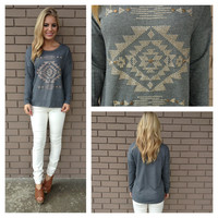 Charcoal & Gold Aztec Stud Sweater Top