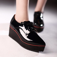 2015 Fashion Black +Apricot British Goth Punk Creepers Flats Lace Up Pointed Toe Platform Wedges Shoes Woman Hig Heel Sneakers