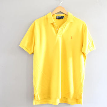 Ralph Lauren Polo Shirt Yellow Cotton Knit Classic Polo Button Up Short Sleeve Tee Minimalist Vintage 90s Size L #T186A
