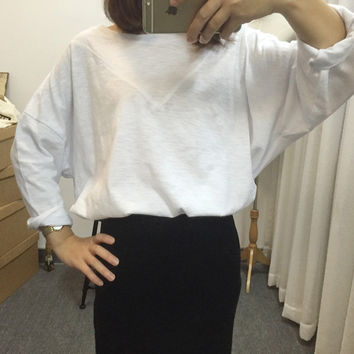 Loose Drop Shoulders Batwing Long Sleeves Blouse