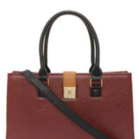 Around the Color Block Tan and Oxblood Tote