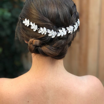 Silver Leaf Bridal Headpiece, Wedding Headpiece, Greek Headpiece, Bridal Headpiece, Grecian Headpiece, Boho Headpiece, Gift For Her