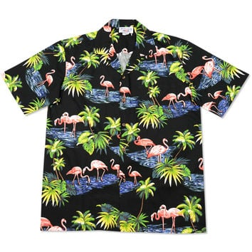 flamingo pool black hawaiian cotton shirt