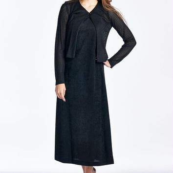 Women's Long Sleeve Cardigan with Sleeveless Maxi Dress Set