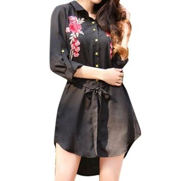 Embroidered Floral Chiffon Long-Sleeve Mini Shirt Dress