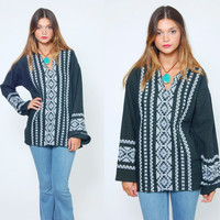Vintage 70s Hippie Tunic  Bell Sleeve ETHNIC Top Black & White Boho Festival Tunic