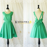 A Party Dress - V Shape Sea Green Dress Green Bridesmaid Dress Green Prom Dress Backless Cocktail Dress Homecoming Night Dress XS-XL