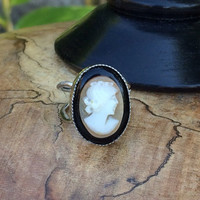 Cameo Ring Jewelry, Authentic Carved Vintage Shell ,Italian Gift,Sterling Silver