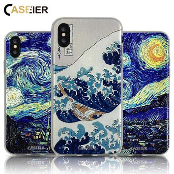 CASEIER Phone Case For iPhone 6 6s Soft TPU Cover Van Gogh Starry Night Cases For iPhone 5s 7 8 Plus X 3D Relief  Accessories
