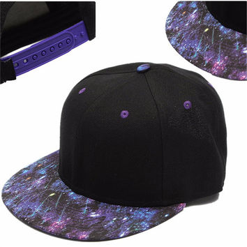Men Women Baseball Flat Bill Galaxy Hat Hippie Snapback HipHop Adjustable Cap