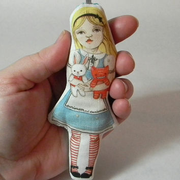 Alice in Wonderland Ornament Tiny Cloth Doll by cartbeforethehorse