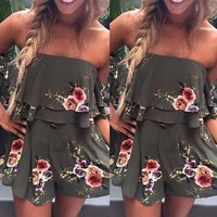 Summer New Women Ladies Clothing Flower Printed Casual Slash Neck Short Sleeve Mini Dress Fashion Clothes