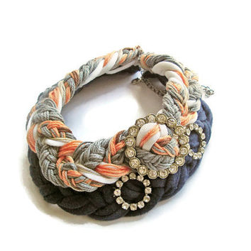 Braided Necklace, African Necklace, Unique Jewellery, Women Necklace, Big neckwarmer, Orange Blue Gray, African Jewelry, Large Necklace