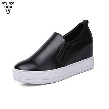 VTOTA Spring Autumn Shoes Woman Genuine Leather Women Flats Comfortable Loafers Womens Shoes Breathable Increased Leisure Shoes