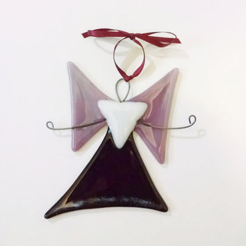 Fused Glass Angel Ornament - Christmas Ornament - Suncatcher - Christmas Decor- Glass Art - Pink Purple Angel - Holiday Decor - Religious