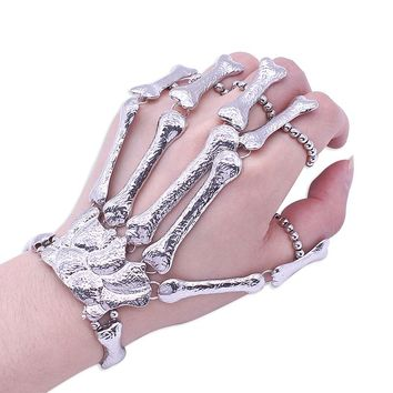 Nightclub Punk Skull Bead Finger Bracelet Gothic Skeleton Bone Hand Finger Flexible Bracelets For Women Christmas Halloween Gift
