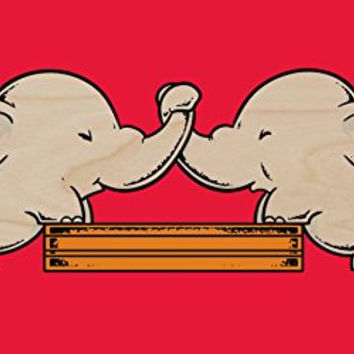 'Trunk Wrestling' Funny Cute Elephants Playing - Plywood Wood Print Poster Wall Art