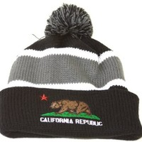 Winter Cuff Beanie w/ Pom - California Republic - Black Grey