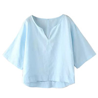 Blue V-Neck Flare Sleeve Loose Fitting Crop Top