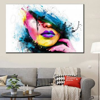 Wall Art Canvas Painting Modern Sexy Women Face