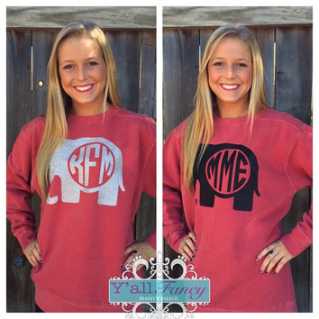 Alabama Elephant Monogram Comfort Colors Crewneck Sweatshirt - Y'all Fancy