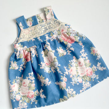 Stunning Baby Girl Dress, Girls dress, Blue floral lace dress, Sizes from 3 months to 5 years. Handmade Gift Baby Girl